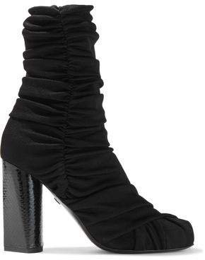 Ruched Ribbed-knit Ankle Boots