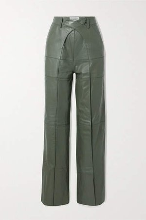 Pleated Leather Wide-leg Pants - Army green