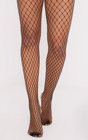 Kelsie Black Medium Net Fishnet Tights | PrettyLittleThing