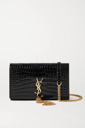 Kate Small Croc-effect Patent-leather Shoulder Bag - Black