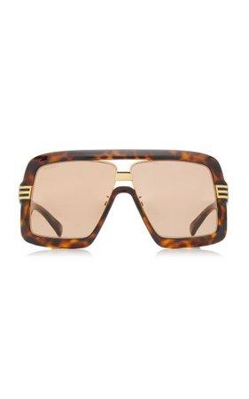 Oversized Square-Frame Tortoiseshell Injection Sunglasses By Gucci | Moda Operandi