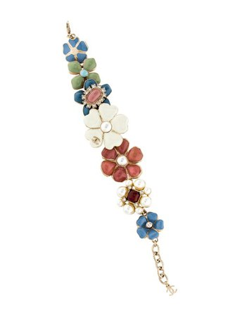 Chanel Faux Pearl, Strass & Enamel Floral Bracelet - Bracelets - CHA349767 | The RealReal