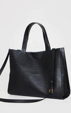 Black Pu Croc Tote Bag | Accessories | PrettyLittleThing