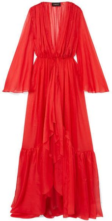 Ruffled Silk-chiffon Gown - Red