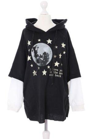 TS-74-1 Black Moon Moon Pastel Goth Twin-Optics Pullover Hooded Sweatshirt | eBay
