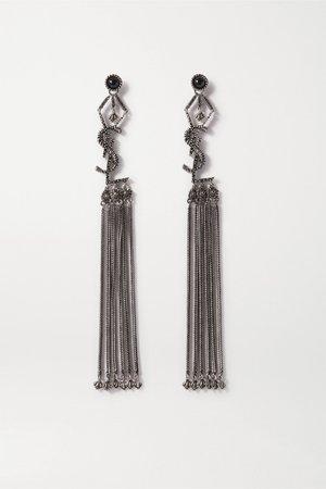 Black Tasseled blackened silver-tone earrings | SAINT LAURENT | NET-A-PORTER