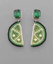 Lime Slice Bead & Emerald Earrings