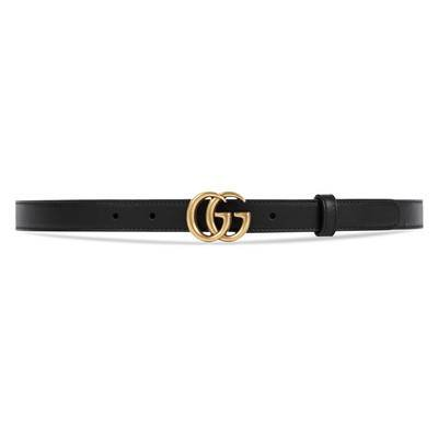 Leather belt with Double G buckle in Black leather   Gucci Women's Belts