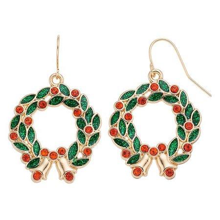 Red Wreath Nickel Free Drop Earrings