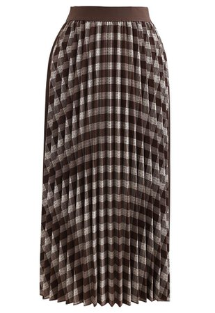 Check Corduroy Pleated Midi Skirt in Brown - Retro, Indie and Unique Fashion