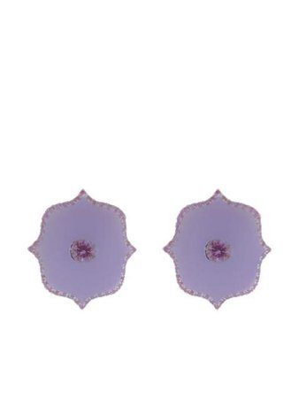 Shop purple BAYCO 18kt white gold pink sapphire earrings with Express Delivery - Farfetch