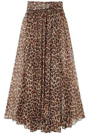 Hera Leopard-print Silk And Lurex-blend Chiffon Maxi Skirt