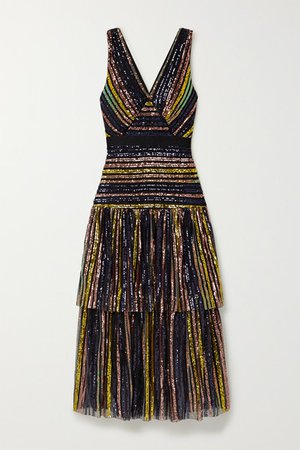 Self-Portrait | Grosgrain-trimmed tiered striped sequined tulle midi dress | NET-A-PORTER.COM