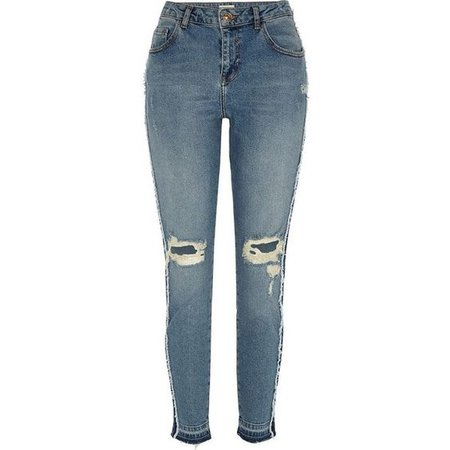 River Island Blue wash Alannah panel ripped skinny jeans