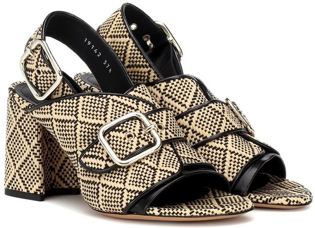 Raffia leather-trimmed sandals