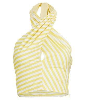 STAUD Sea Tiered Stripe Poplin Midi Skirt   INTERMIX®