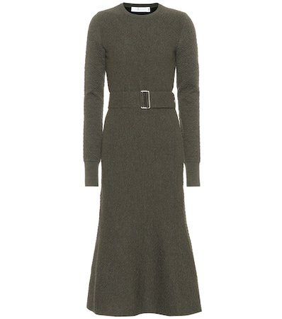 Belted flared wool dress