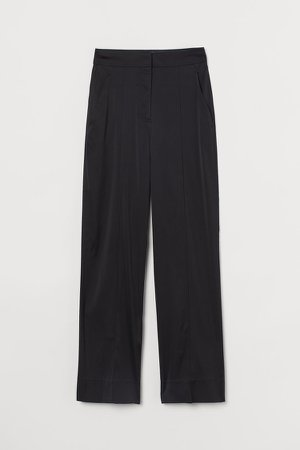 Dressy Silk-blend Pants - Black
