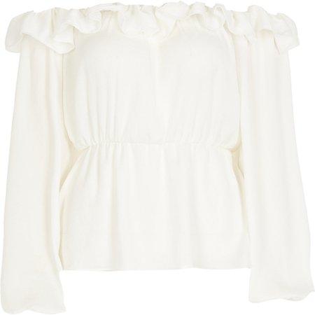White frill bardot long sleeve blouse | River Island