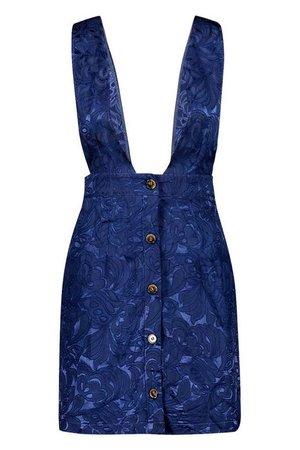 Satin Jacquard Plunge Front Pinafore Dress | Boohoo blue
