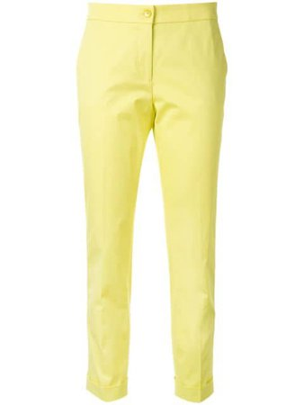 Shop yellow Etro tailored-cut cropped trousers with Express Delivery - Farfetch
