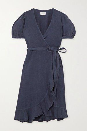 Storm blue Charlotte ruffled linen wrap dress   Honorine   NET-A-PORTER