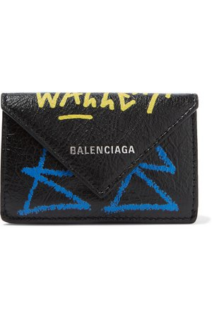 Balenciaga | Papier mini printed textured-leather wallet | NET-A-PORTER.COM