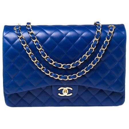 Chanel Blue Quilted Leather Maxi Classic Double Flap Bag