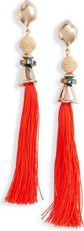 Celia Raffia & Silk Tassel Drop Earrings | Nordstrom
