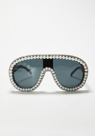 Rhinestone & Pearl Aviator Sunglasses - Black   Dolls Kill