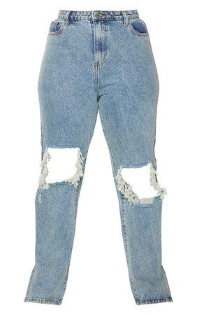 Plus Vintage Wash Distressed Knee Split Hem Jeans | PrettyLittleThing USA