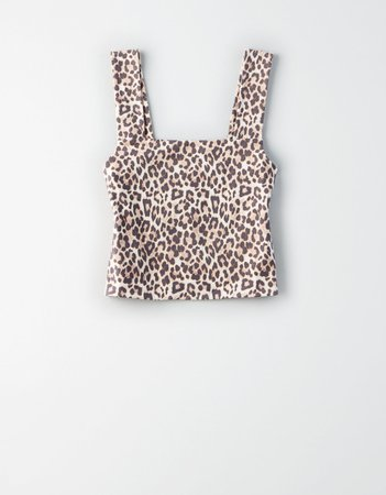 AE Leopard Square Neck Cropped Tank Top