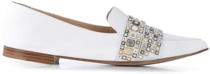 Metallic Embellished Flat Loafers