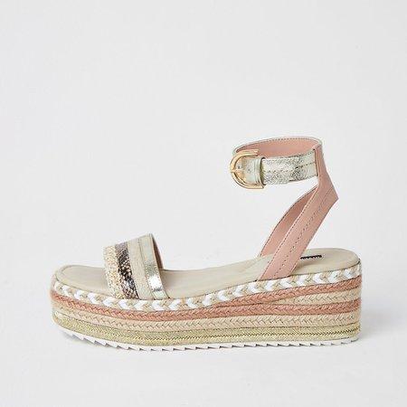 Light pink espadrille flatform sandals   River Island