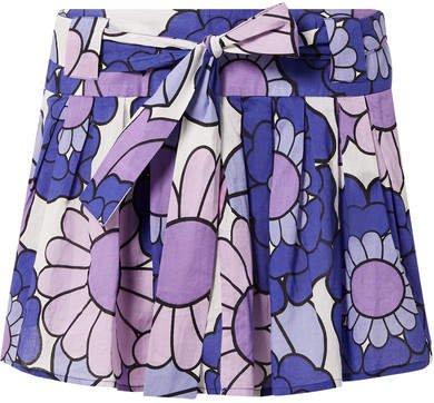 Pleated Floral-print Cotton-voile Mini Skirt - Purple