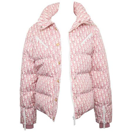 Extremely Rare John Galliano for Christian Dior Pink Trotter Logo Puffy Jacket For Sale at 1stdibs