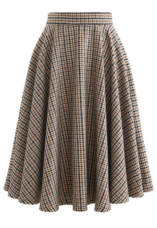 Flare Houndstooth Wool-Blend Midi Skirt - Retro, Indie and Unique Fashion