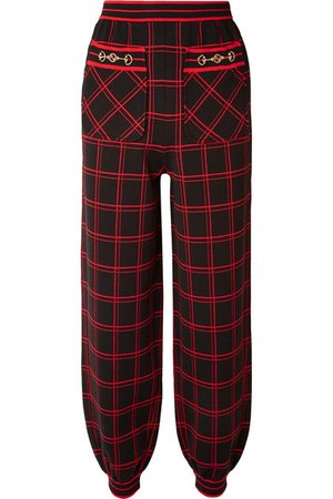 Gucci | Embellished checked wool track pants | NET-A-PORTER.COM