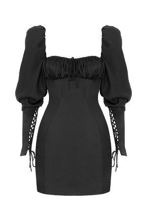 Clothing : Bodycon : Mistress Rocks 'Change Of Heart' Black Satin Lace Sleeve Mini Dress