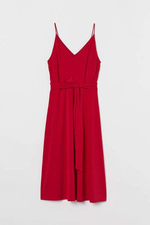Creped Dress - Red