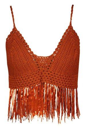 Crochet Fringe Knit Bralet | Boohoo