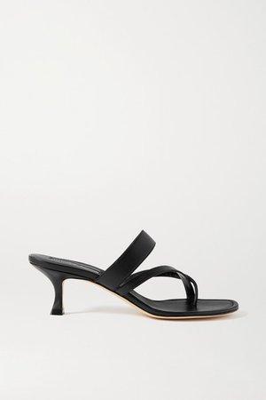 Susa Leather Sandals - Black