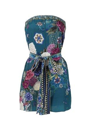 blue pink floral dress