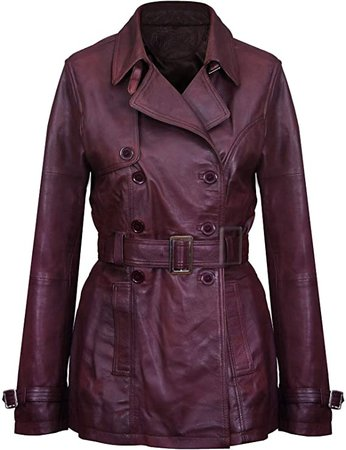 Women's 3/4 Conker Brown Ladies Lamb Leather Nappa Trench Coat