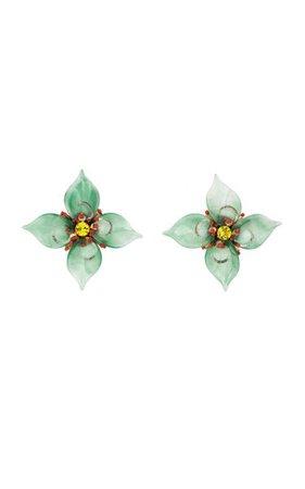 14k Gold-Plated Acrylic Floral Stud Earrings By Oscar De La Renta | Moda Operandi