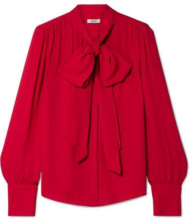 Pussy-bow Crepe Blouse - Red