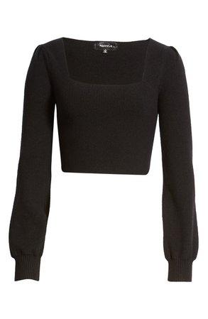 4SI3NNA Lina Square Neck Crop Sweater black
