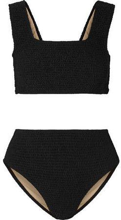 Monikh Shirred Bikini - Black
