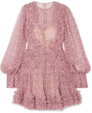 Ruffled Floral-print Silk-crepon Mini Dress - Blush