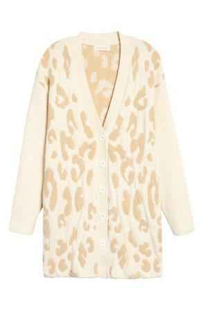 Treasure & Bond Leopard Cotton Blend Cardigan   Nordstrom